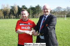 Mallow v Corinthians Academicals- James O'Driscoll receives the Man of the Match award from Pat Quinn MSL.