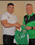 Cobh Wanderers Michael O'Shea receives his Irish International Jersey prior to the CISM Military World Cup