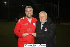 Floodlit Cup Final-Leeds v College Corinthians-Pat Lyons MSL presenting the man of match award to Greg Yelverton Leeds