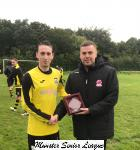 Riverstown v Kilworth Celtic - Shane Creech Riverstown receiving the Beamish Stout Man Of The Match Award from Barry Cotter MSL