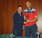 2016 inter provincial Player of the Tournament Mark Horgan is presented with his award from Gerry Davis, FAI.