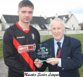 Ballincollig v Castleview-Pat Lyons MSL presents the Man of the Match award to Timothy Foley Castleview