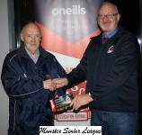 Pat Quinn presents the O'Neill's club of the week voucher to Eddie Allen Midleton