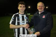 St. Mary's v Blarney Utd-Pat Quinn MSL presenting the man of the match award to Nathan Broderick St Marys