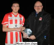 Carrigaline Utd v Castleview-Pat Quinn MSL presenting the man of the match award to Patrick O' Donoughue Castleview