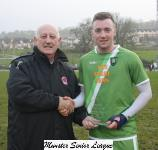 Passage v Riverstown-Sean O'Sullivan MSL presents the man of the match award to kieran Burke Passage