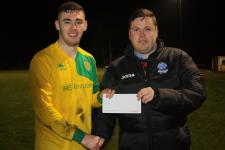 Rockmount v Douglas Hall. Barry Cotter MSL presenting Barry Carson,  Rockmount,  with man of the match award