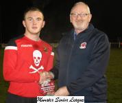 Midleton v UCC-Pat Quinn MSL presents the man of match award to Garan Manley UCC