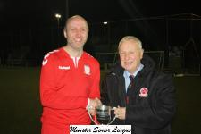 Pat Lyons MSL presenting the cup to Alan Larkin of Leeds-winners of the Floodlit Cup