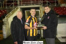 MSL Chairman John Finnigan presents the Keane Cup to Conor Meade Cobh Wanderers with Tony Murphy MSL President