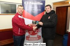 John Finegan Presents the O'Neill's Club of the week voucher to William Varney Youghal Utd.