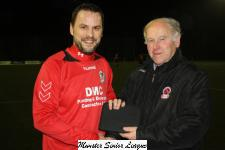Crofton Celtic v Wilton Utd-Barry Gould MSL presenting the man of match award to Neil Harrington Crofton Celtic