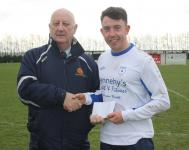 Ballinhassig v Avondale Utd - Sean O'Sullivan MSL presents the man of the match award to Avondale's Vinnie O'Brien
