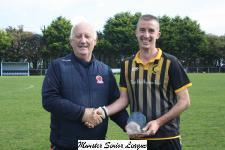 Avondale Utd v Cobh Wanderers-Sean O'Sullivan MSL presents the man of match award to David Walsh Cobh Wanders