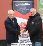 Michael Foley MSL presenting the O'Neills Club of week voucher to Ringmahon Rgs Chairman Vincent Noonan.