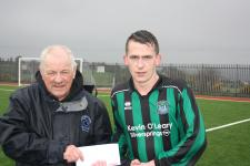 Mayfield Utd-Leslie Doyle MSL presenting the man of the match award to John Buckley- Mafield Utd V College Corinthians