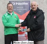 Sean Sullivan presents the O'Neills Club of the week voucher to John Quinn chairman of Passage Utd