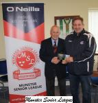 Pat Lyons presenting O Neills Club of week voucher to Ger Staunton Everton