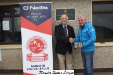 Sean O'Sullivan presents the O'Neills Club of the Week voucher to Crosshaven's  Padraig O'Keeffe