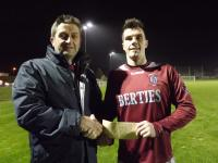 Youghal Utd-John Finnigan presenting man of match award to Lee Desmond Youghal Utd, Youghal Utd v Casement Celtic