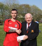 Mallow v Glasheen - Joe Carroll Mallow, receives the Man of the Match award from Peader O'Leary, MSL.