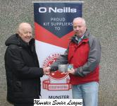 Tony Murphy MSL President, presents the O'Neills club of the week voucher to Eamon Hayes Kilreen Celtic
