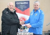 Sean O' Sullivan presents the O'Neills Club of week Voucher to Pat Boyce Fermoy