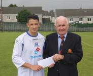 Leeds v Leeside SN-Peadar O' Leary MSL presenting man of match award to Cian Coleman Leeds