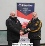Pat Quinn presents the O'Neils Club of the week voucher to Joe Stack Cobh Wanderers