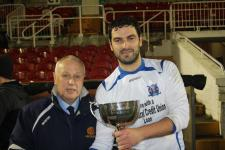 Jn League Cup Final - Leeds v Rockmount Pat Lyons MSL presents the Jn League Cup to Leeds Capt Darren  Lynch