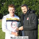 Cobh Wanderers v Rockmount - MSL Chairman John Finnegan presents the man of match award to Cobh's Nathan Manson Browne