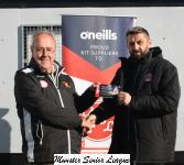 John Finnigan presenting O'Neills Club of the week voucher to John Barry Cobh Wanderers