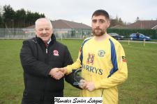 Douglas Hall v Leeds - Leslie Doyle MSL presenting the man of match award to Chris Fahy Douglas Hall