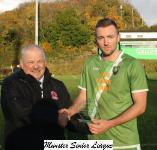 Passage v Everton Utd - Leslie Doyle MSL presents the man of match award to Ciaran Burke Passage