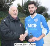Crosshaven v Blarney Utd-Sean O'Sullivan presents the man of match award to Jordan Murphy Crosshaven