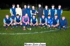 Youghal Utd v Avondale Utd A-John Finnegan presents Domhnall Cremin Avondale Utd A with the Beamish Stout Man Of The Match award