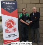 Michael Foley presenting O'Neills Club of week football voucher to Adrian Saville Mayfield Utd