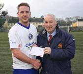 Blarney-Pat Lyons presenting man of match award  to Raymond o Leary Blarney. Blarney v Passage
