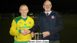 Pat Quinn MSL presents the Flood League Trophy to Pat Tynan Rockmount Captain