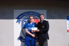 Wilton Utd v Bandon-John Finnegan chairman msl and  man of the match Robbie Walsh of Wilton Utd