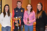 U14 Player of the Year Evanna Lyons, being presented by Orla Conlon, Eoghan O'Reilly with the Shane McGettigan Cup and Lisa McMa