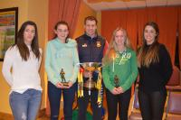 U16 Players of the Year (l to r) Orla Conlon, Saoirse McCabe, Eoghan O'Reilly with the Shane McGettigan Cup, Dearbhla Keane and