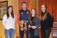 U13 Player of the Year Lauren Concannon, being presented by Orla Conlon, Eoghan O'Reilly with the Shane McGettigan Cup and Lisa
