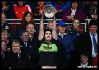 Club captain Rory Byrne lifting the Moclair Cup