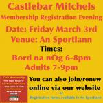 Registration Evening on Friday March 3rd