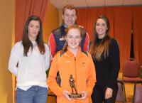 U12 Player of the Year Sarah Fallon, being presented by Orla Conlon, Eoghan O'Reilly and Lisa McManamon.