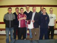 Presentation of Socks and togs to Minor team by sponsor Enda Hiney