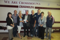 John Lynn receiving €17450 cheque for winning Club Lotto, June 2016