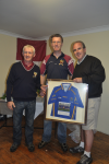 Mark Burke San Francisco presents to JHegarty CL McHale Rovers Chairman & EHowley Deelrovers Chairman