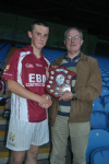 Sean McEil Mayo Bord Na Nog Secretary presents 2013 Mayo  U16B Trophy